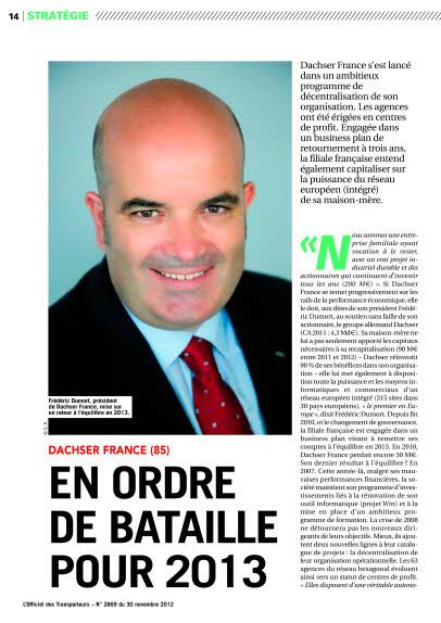 DACHSER FRANCE (85) - EN ORDRE DE BATAILLE POUR 2013