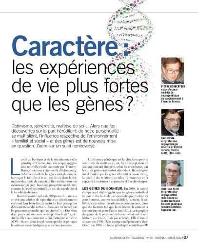 Caractère : les expériences de vie plus fortes que les gènes ?