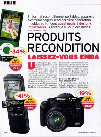 PRODUITS RECONDITION 